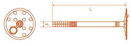 Схема дюбеля для креплении теплоизоляции