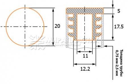чертеж круглой заглушки 20 мм