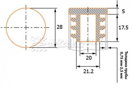 чертеж круглой заглушки 28 мм