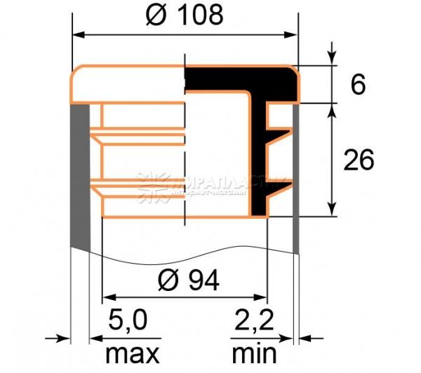 чертеж круглой заглушки 108 мм