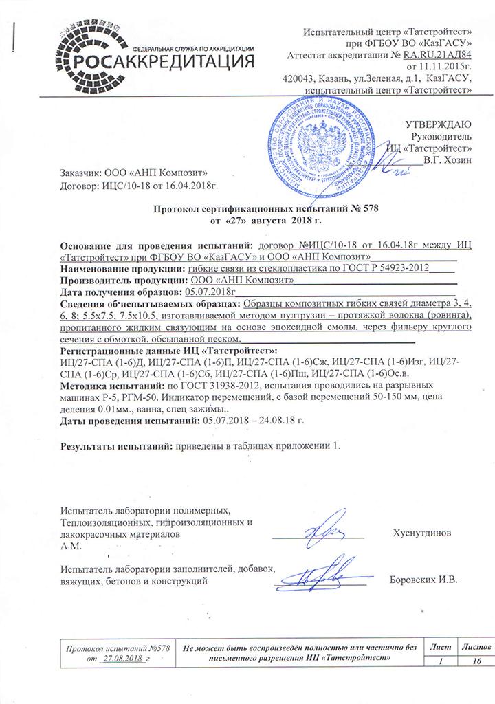 Протокол испытания на композитные гибкие связи АНП Композит