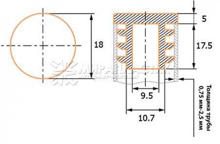 чертеж круглой заглушки 18 мм