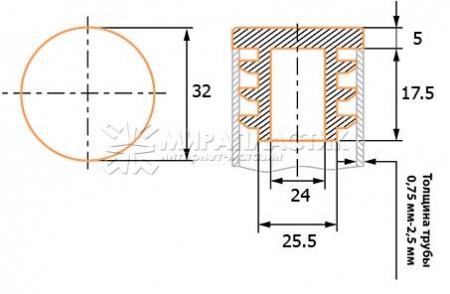 чертеж круглой заглушки 32 мм