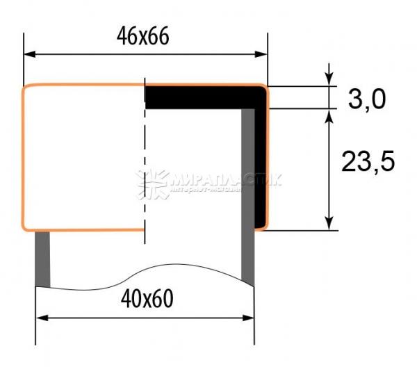 чертеж наружной заглушки 40х60 мм