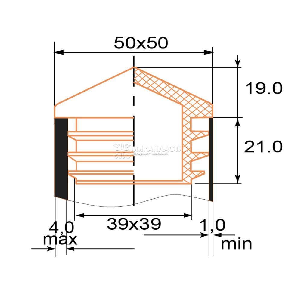 заглушка-домик 50х50 чертеж