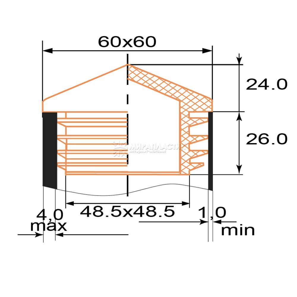 Чертеж заглушки домик 60х60