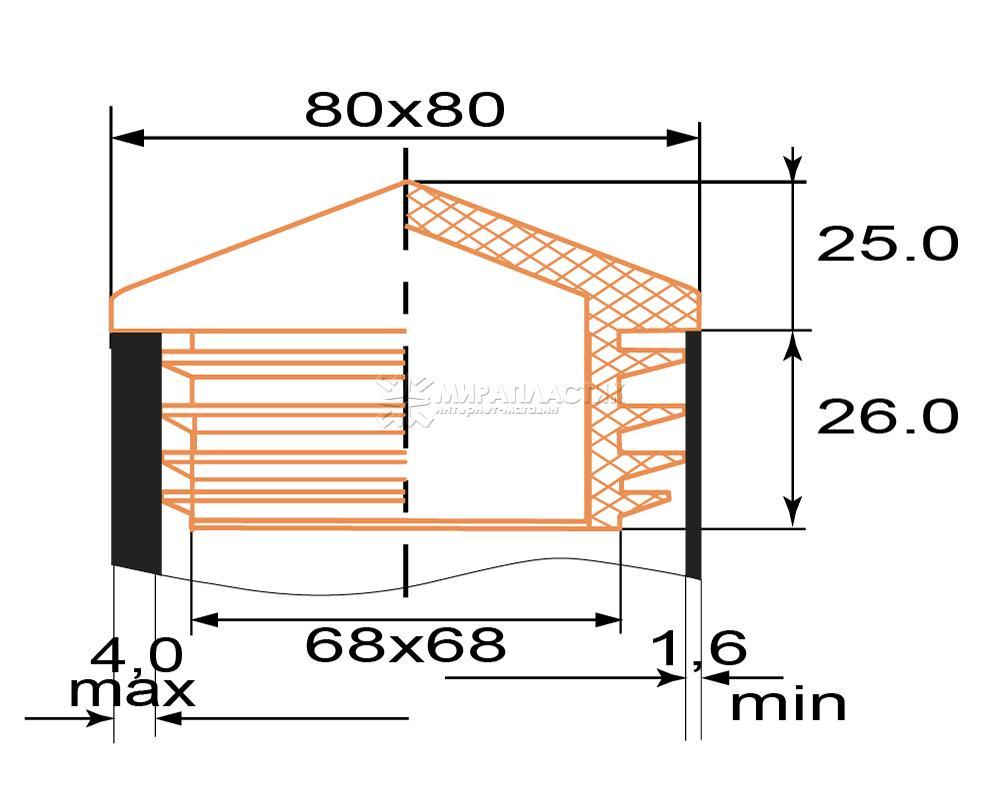 Чертеж заглушка-домик 80х80