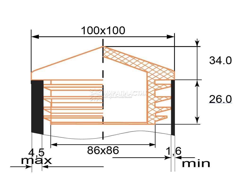 Чертеж заглушки домик 100х100