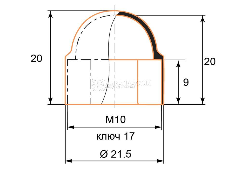 Чертеж заглушки М10