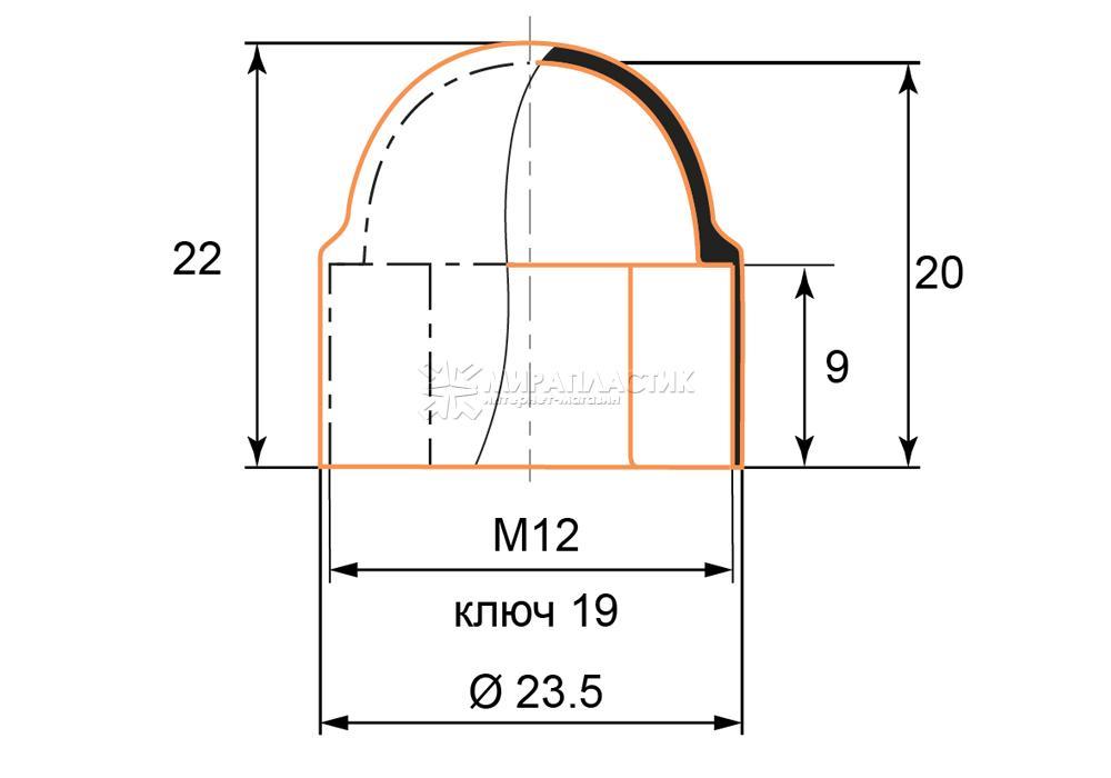 Чертеж заглушки М12