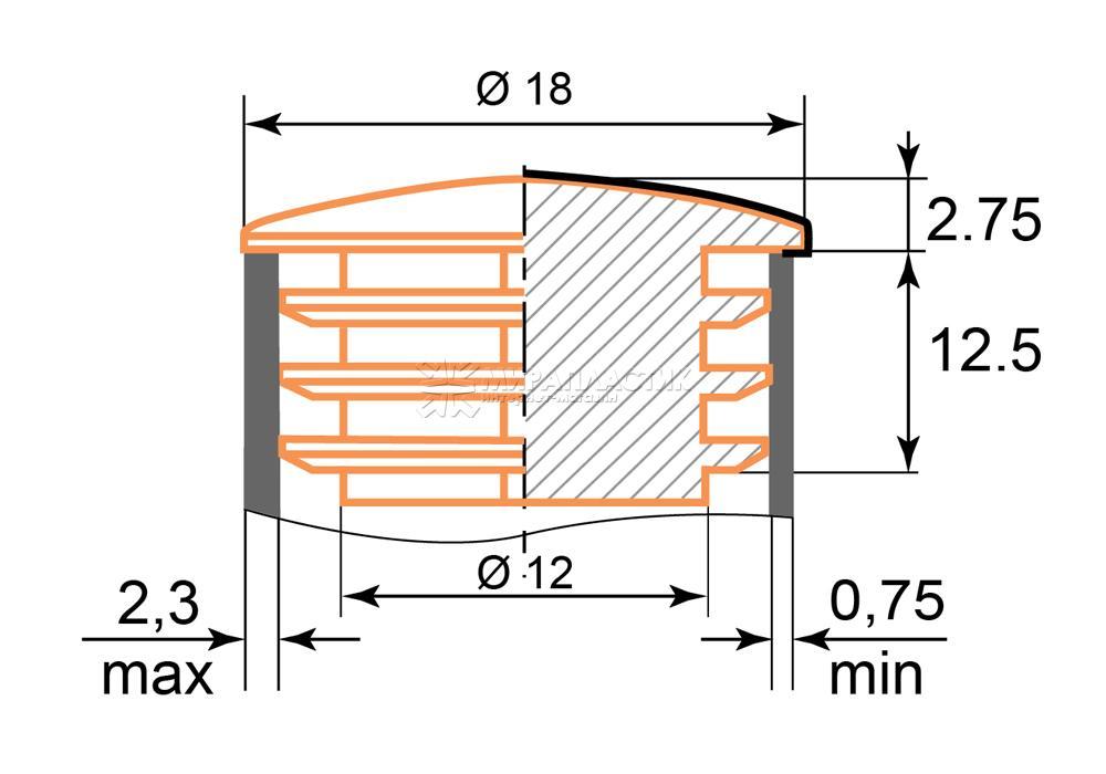чертеж заглушки хром 18 мм