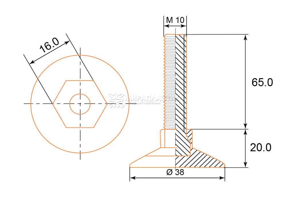 Чертеж опоры М10х65 мм