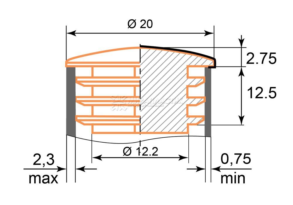 чертеж заглушки хром 20 мм
