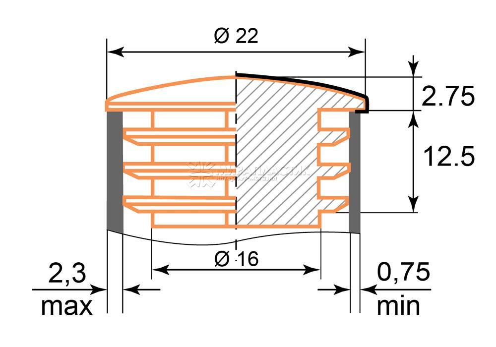чертеж заглушки хром 22 мм