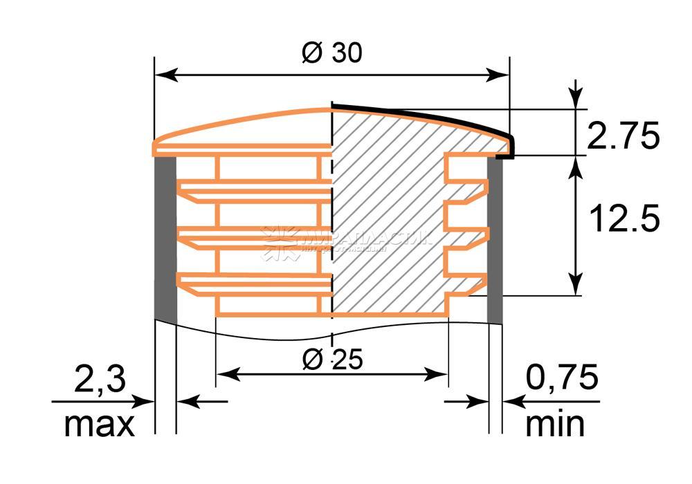 чертеж заглушки хром 30 мм
