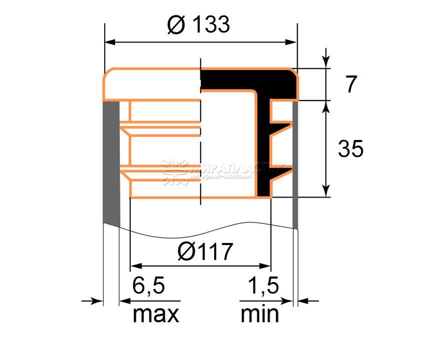 Чертеж круглой заглушки 133 мм