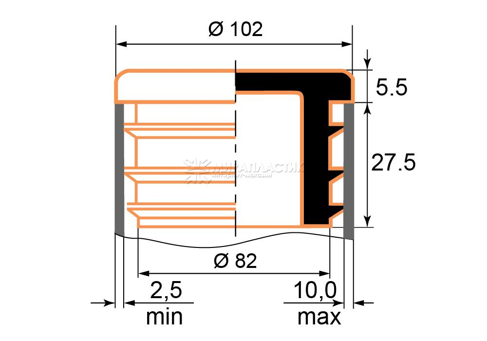 Чертеж заглушки 102 мм