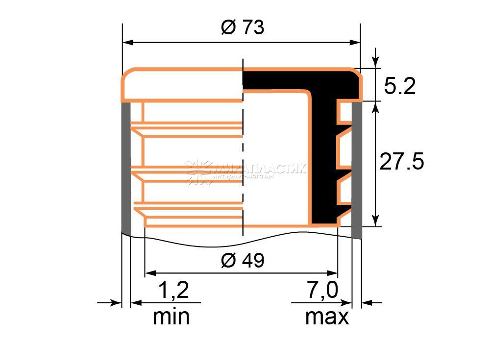 Чертеж заглушки 73 мм