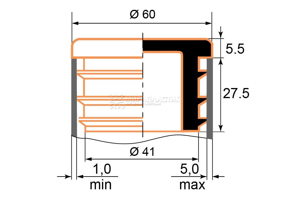 Чертеж заглушки 60 мм толщина стенки трубы 1-5 мм