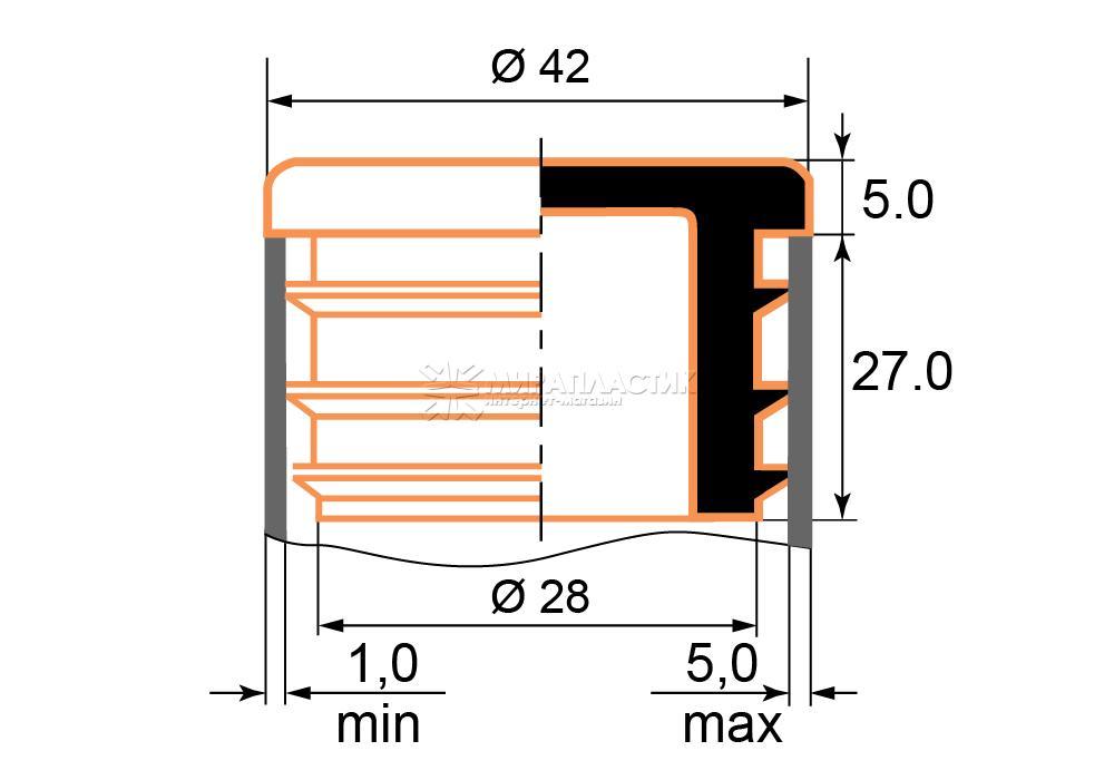 Чертеж заглушки 42 мм толщина стенки трубы 1-5 мм