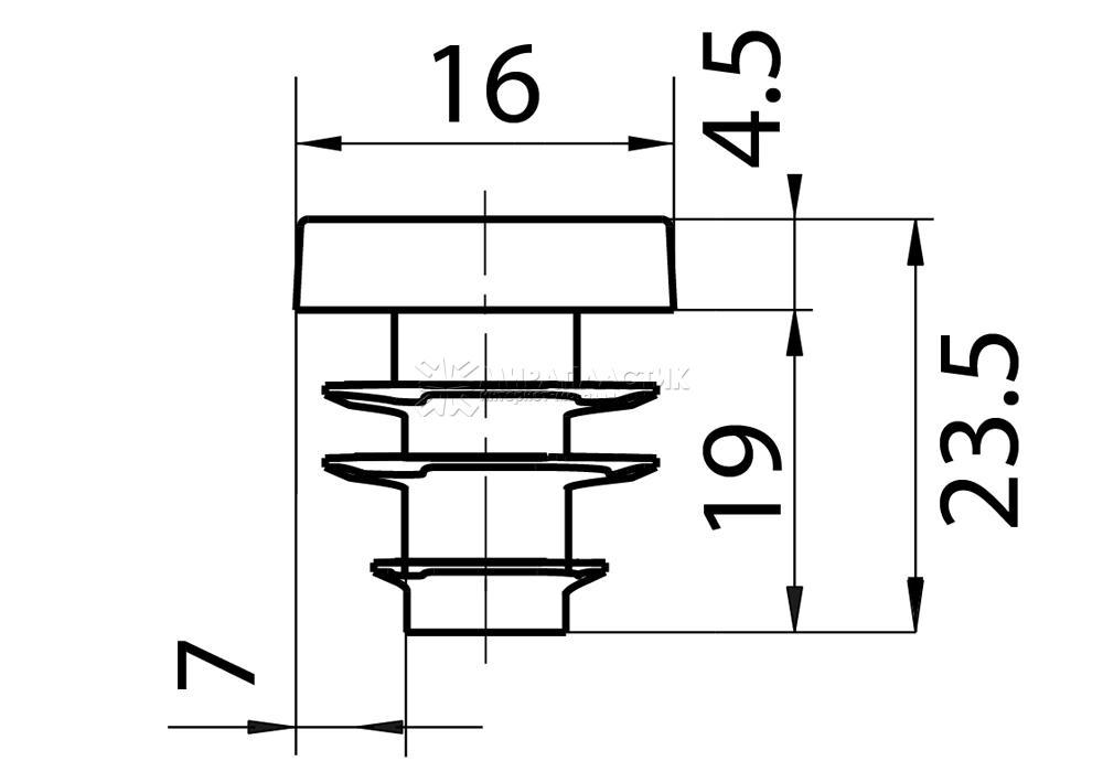Чертеж заглушки 16 мм