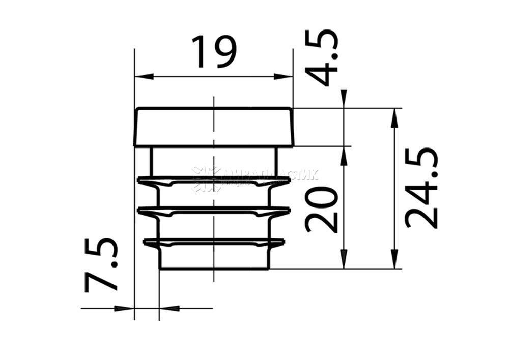 Чертеж заглушки 19 мм