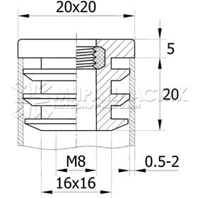 Заглушка резьбовая 20х20 с гайкой М8