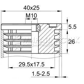 Чертеж заглушки 25х40 с резьбой М10
