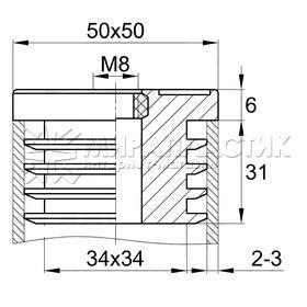 Заглушка пластиковая 50х50 мм с резьбой чертеж