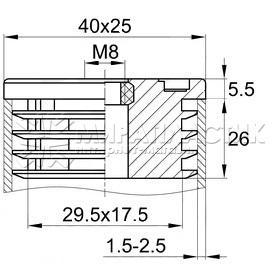 Резьбовая заглушка 25х40 мм под опору М8 чертеж