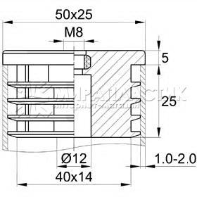 резьбовая заглушка 25х50 мм под опору М8 чертеж